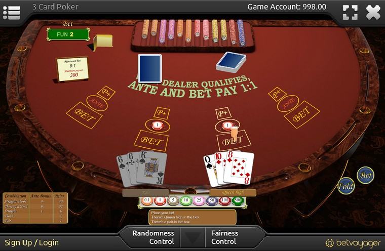 3 Card Poker game table at BetVoyager.com
